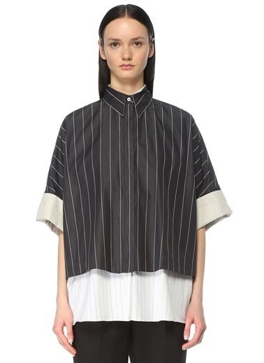 Brunello Cucinelli 101614033 Çizgili Kat Detaylı Yarım Kol Kadın Gömlek Siyah